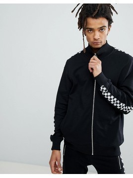 Criminal Damage Track Top With Checkerboard Stripe - Black