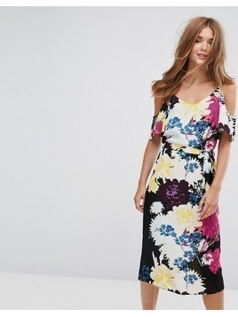 New Look Floral Cold Shoulder Midi Slip Dress - Yellow