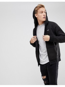 Hollister Full Zip Icon Logo Hoodie in Black - Black