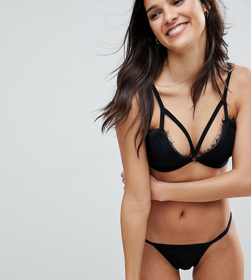 Missguided Lace Strappy Bikini Brief - Black