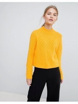 Selected Knitted High Neck Jumper - Yellow