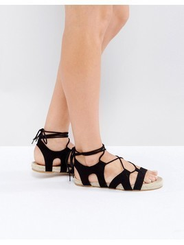ASOS JORDY Lace Up Espadrille Sandals - Black