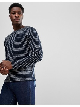 Selected Homme Striped Towelling Sweat - Navy