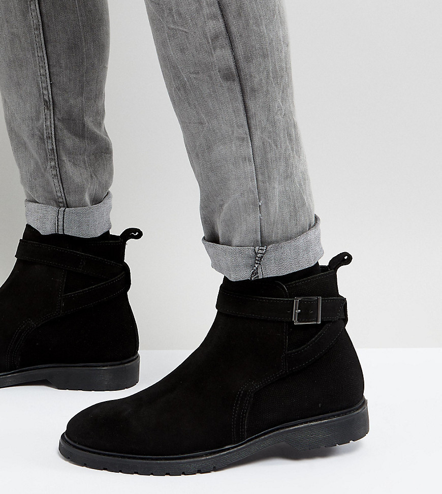 ASOS Wide Fit Chelsea Boots In Black Leather With Strap Detail - Black