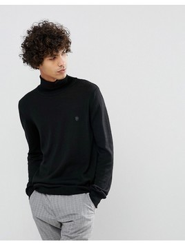Noose&Monkey Black Roll Neck Jumper - Black