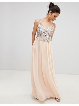 City Goddess Embellished Chiffon Maxi Dress - Pink