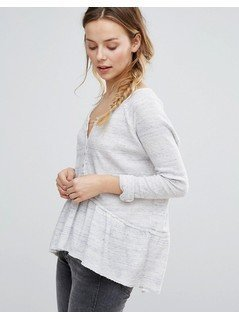 Free People Coastline Peplum Long Sleeved Tee - White