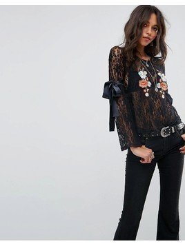 Glamorous Long Sleeve Top In Lace With Floral Embroidery - Black