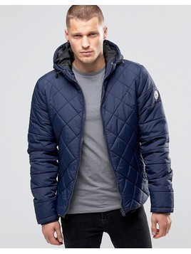 Blend Hooded Quilted Jacket Navy - Navy