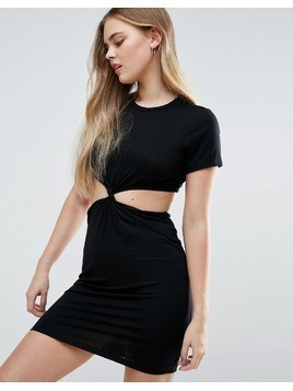 ASOS Twist Front Mini Bodycon Dress with Cut Out - Black