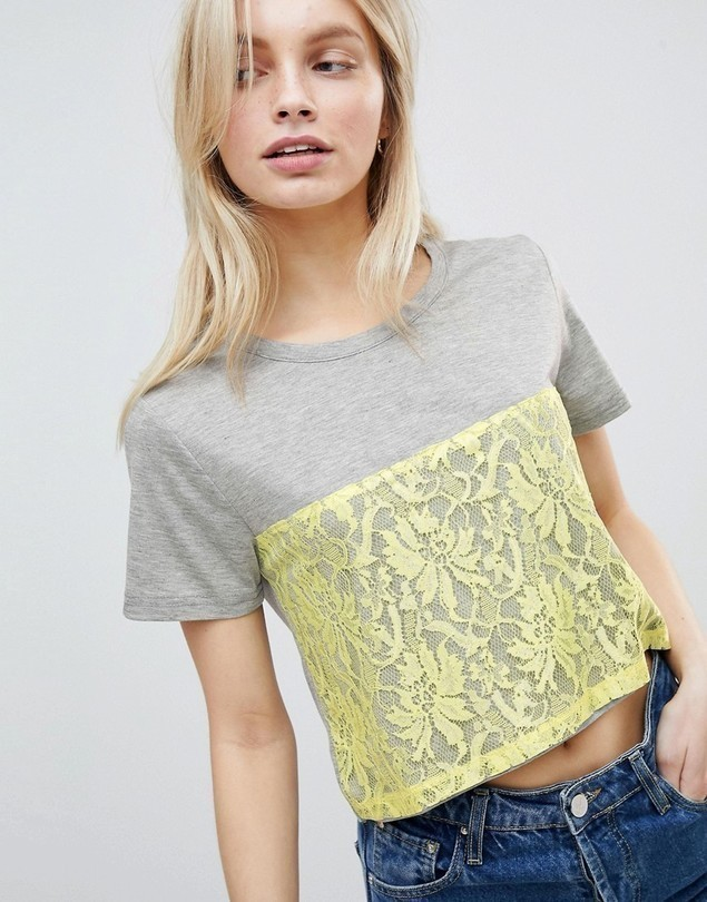 QED London Lace Detail T-Shirt - Yellow
