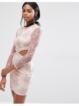 Missguided Floral Lace Cut Out Mini Dress - Pink