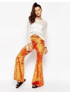 The Ragged Priest High Waisted Flares - Orange
