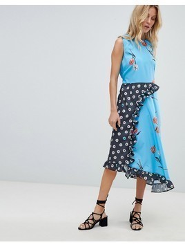 ASOS DESIGN Sleeveless Midi Dress in Mix and Match Floral Print - Multi