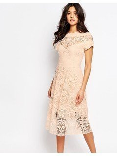 River Island Premium Lace Detail Midi Dress - Pink