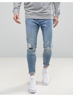 Pull&Bear Carrot Fit Jeans With Rips In Light Wash - Blue
