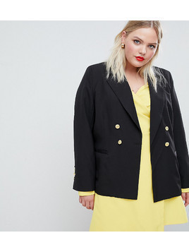 Unique 21 Hero jersey blazer with gold button detail - Black