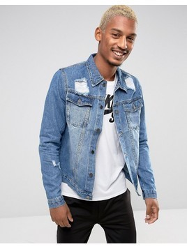 Criminal Damage Denim Jacket With Distressing - Blue