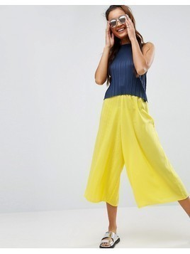 ASOS Mixed Pleat Occasion Culottes - Green