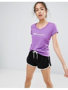 Champion Logo V-Neck T Shirt - Purple