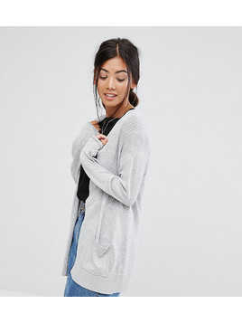 ASOS PETITE Cardigan In Fine Knit With Rib Detail - Grey