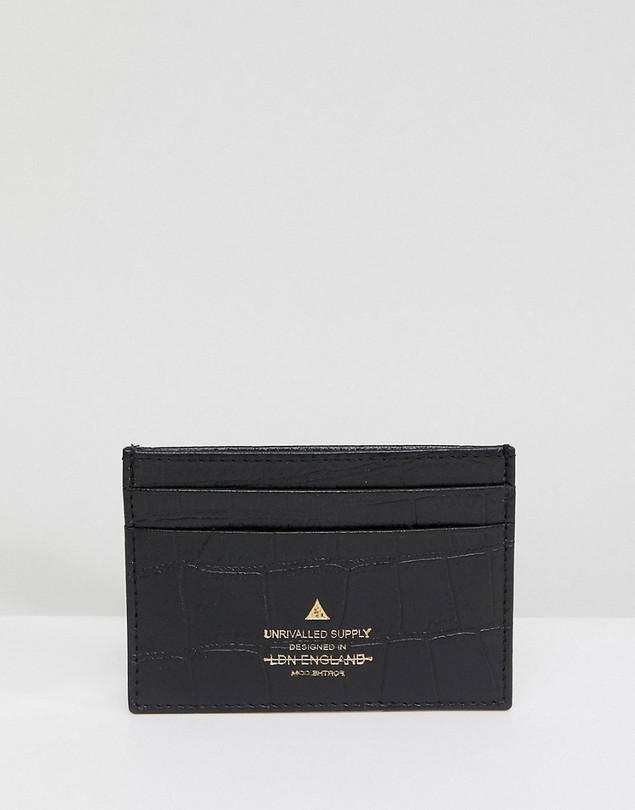 ASOS Leather Card Holder In Black With Crocodile Emboss And Gold Logo Emboss - Black