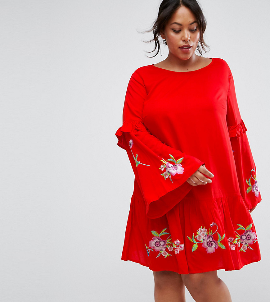 ASOS CURVE ULTIMATE Mini Embroidered Smock Dress - Red