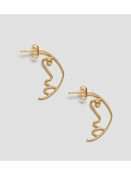 ASOS Gold Plated Sterling Silver Face Profile Earrings - Gold