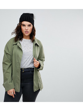 ASOS CURVE Washed Cotton Jacket - Green