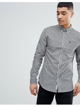 River Island Check Shirt In Black And White - Black