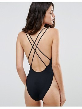 ASOS Cross Back High Leg Swimsuit - Black