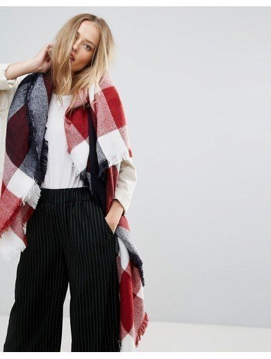 Yumi Red and Blue Check Scarf - Multi
