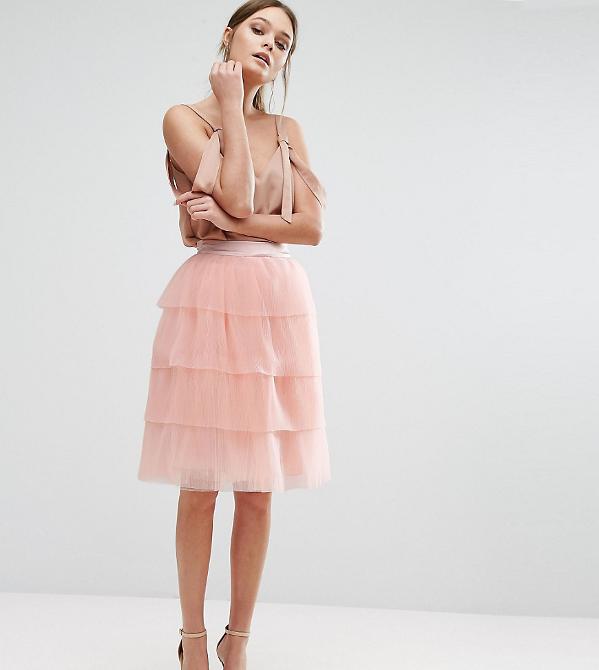 True Decadence Tiered Tulle Mini Skirt - Pink