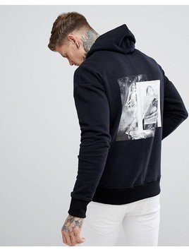 Religion Hoodie With Praying Skeleton Back Print - Black