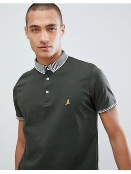 Brave Soul Striped Collar Polo Shirt - Green