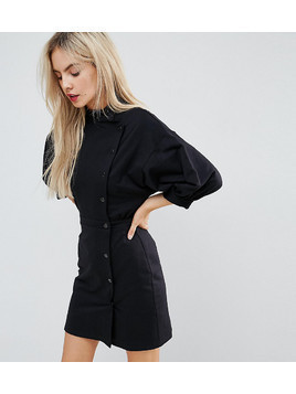ASOS PETITE 80s Button Through Mini Dress - Black