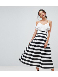 ASOS TALL High Waisted Scuba Midaxi Prom Skirt in Stripe - Black