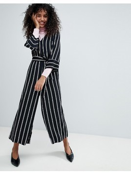 Monki Striped Wrap Front Jumpsuit - Black