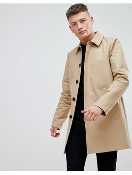 ASOS Shower Resistant Single Breasted Trench In Stone - Stone