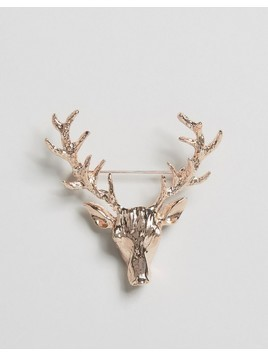 DesignB London Stag Lapel Pin In Rose Gold - Gold