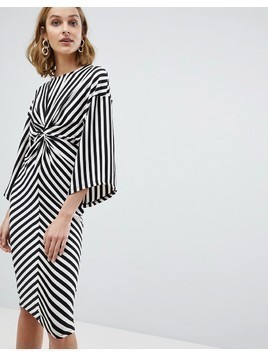 River Island Twist Front Stripe Kimono Sleeve Dress - Multi