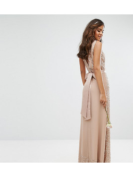 Maya Tall Embellished Maxi Dress With Bow Back - Pink
