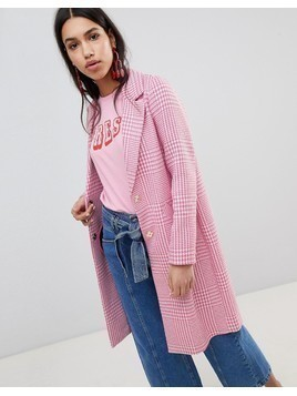 River Island Checked Car Coat - Pink