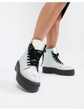ASOS DESIGN Attitude Chunky Lace Up Boots in iridescent - Silver