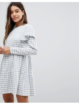 Fashion Union Skater Dress With Pephem In Check - Grey