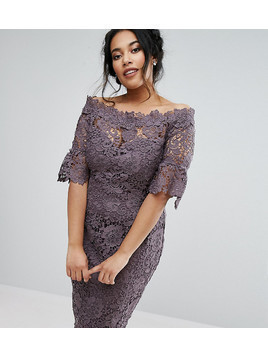 Paper Dolls Plus off shoulder crochet midi dress with frill sleeve - Grey