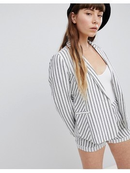 Emory Park Blazer In Summer Stripe Co-Ord - White