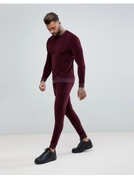 ASOS Tracksuit Muscle Sweatshirt/ Super Skinny Jogger In Burgundy Velour - Red