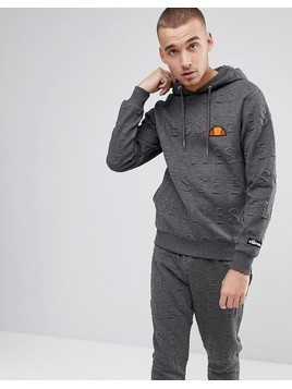 Ellesse Hoodie With All Over Embossed Logo In Grey - Grey