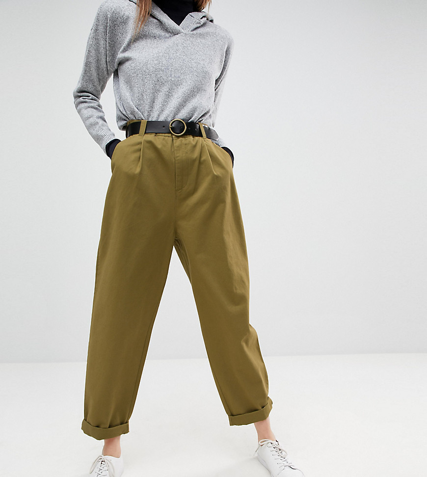 ASOS Curved Seam Tapered Casual Trousers with Belt - Green